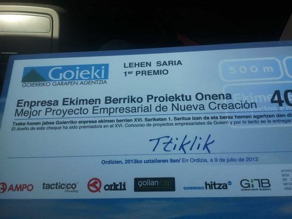 2013 Enpresa Ekimen Berriko Proiektu Onena