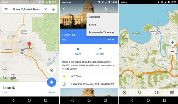 Google Maps eta MapsMe