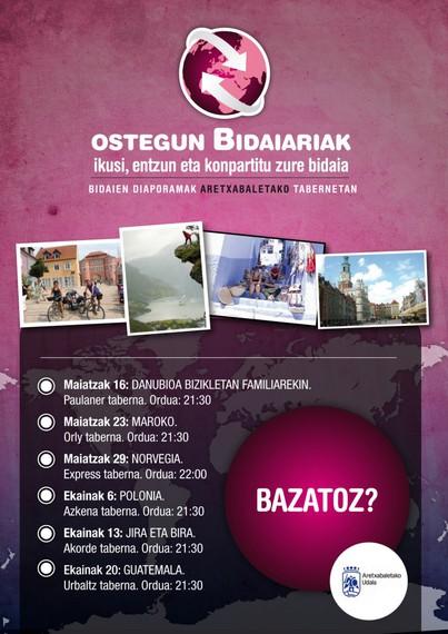 """Maiatzaren 16an hasiko da """"Ostegun bidaiariak"""" lehiaketa Aretxabaletan"""