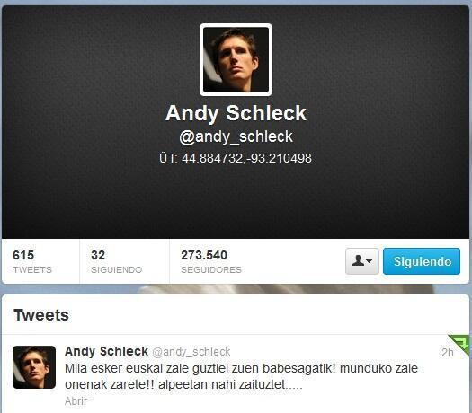 """Andy Schleckek euskaraz Twitterren: """"Mila esker euskal zale guztiei zuen babesagatik!"""""""