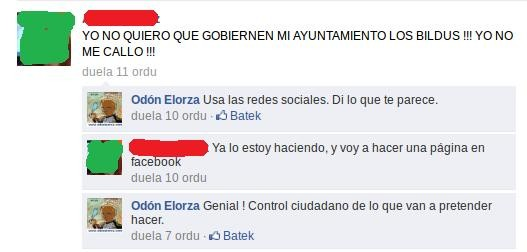 Odon Elorza, Facebook-en jo ta sua