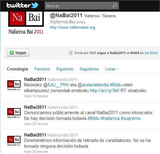 Nafarroa Bai eta Bildu, nahasmena Twitterren