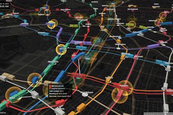 Tokyoko metroa denbora errealeko 3D mapa batean