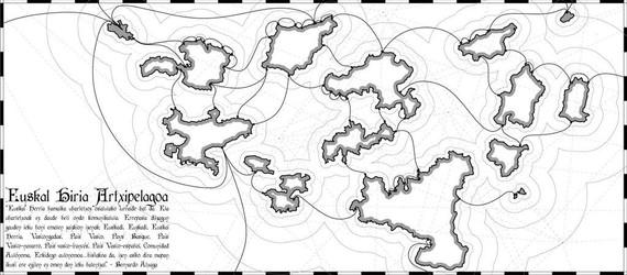 Bernardo Atxagak aipaturiko Euskal Artxipelagoa mapa bihurtuta