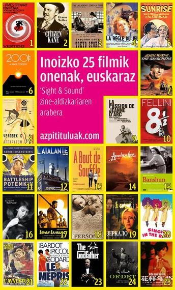 Inoizko 25 filmik onenak, euskarazko azpidatziekin