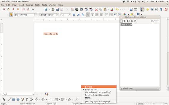 Nola instalatu Xuxen zuzentzaile ortografikoa LibreOffice 4-n