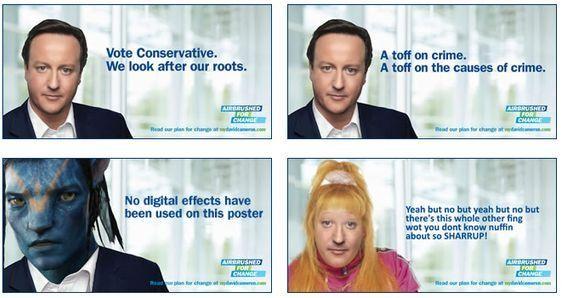 Cameron lider kontserbadorea photoshopatua