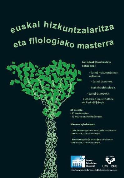 Hizkuntzalaritza eta Euskal Filologia Ikerketa Masterra abian da 2012-13 ikasturterako