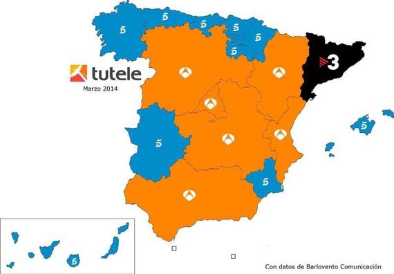 Espainiako telebista kate kutunenen mapan, Tele5 Hego Euskal Herrian