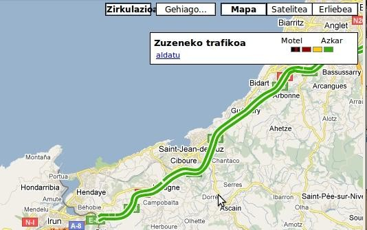 Google Mapsen trafiko informazioa Ipar Euskal Herrira iritsi da