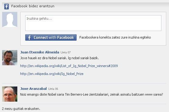 Sustatuko artikuluetan Facebook-eko identitatearekin erantzun daiteke orain