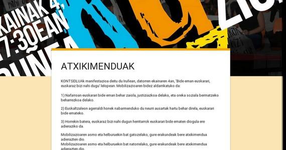 Atxikimenduak Iruñeko ekaineko euskararen aldeko mobilizazioari