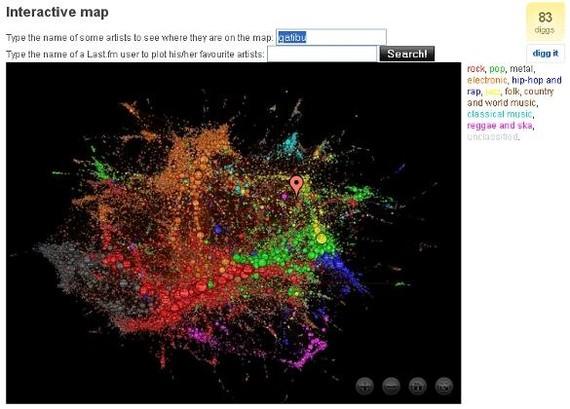 Last.fm-ko musikaz sortutako mapa