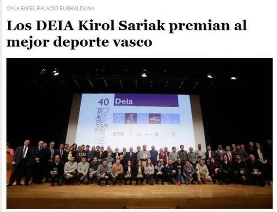 """""""Los DEIA Kirol Sariak"""": euskaraz, izena bakarrik"""