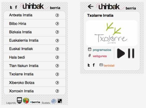 Uhinbak: euskarazko irratiak sakelakoan entzuteko aplikazioa