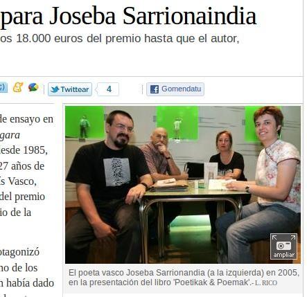 Joseba Sarrionandiarentzako Euskadi Sariak eman du jada zer komentatu
