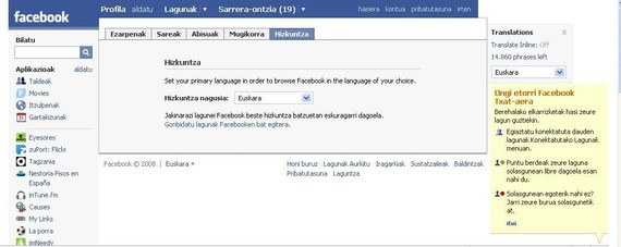 Facebook euskaratzeko bidean