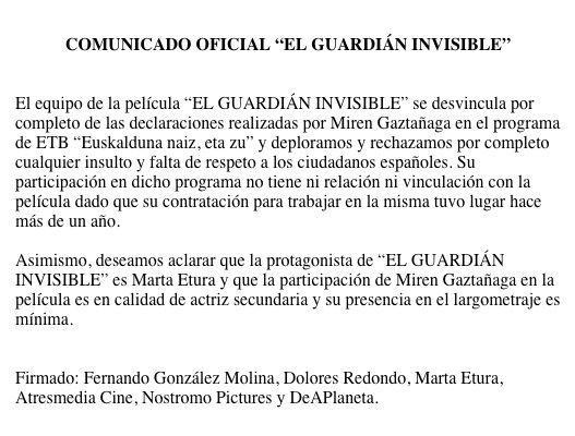 Euskal aktore baten kontra, El Guardian Invisible filmeko taldeak sinatua