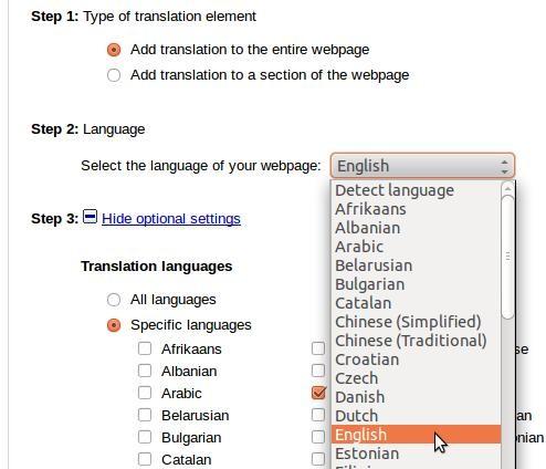 Google Translate blog honetan aplikatuta