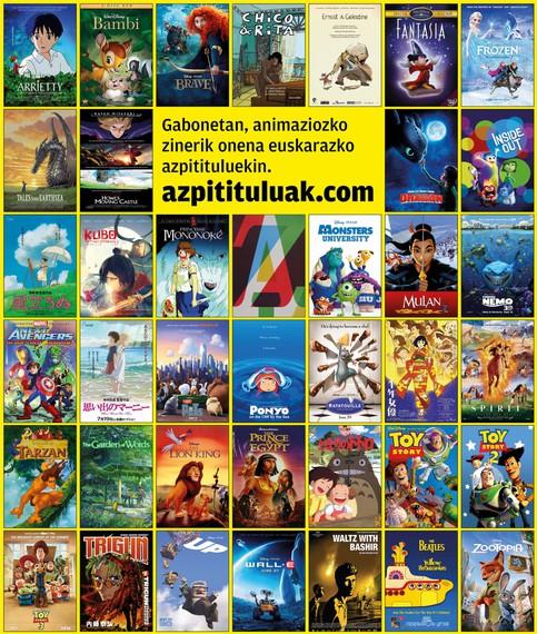 Gabonetarako, animaziozko filmak, euskarazko azpidatziekin