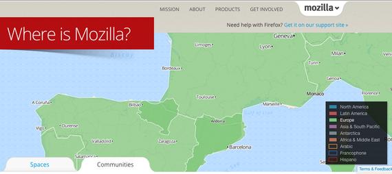 Euskal Herria, eta Països Catalans, Mozillaren komunitateen mapan