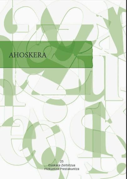 """""""Ahoskera"""" izeneko lana eman du argitara Hezkuntza, Hizkuntza Politika eta Kultura Sailak."""