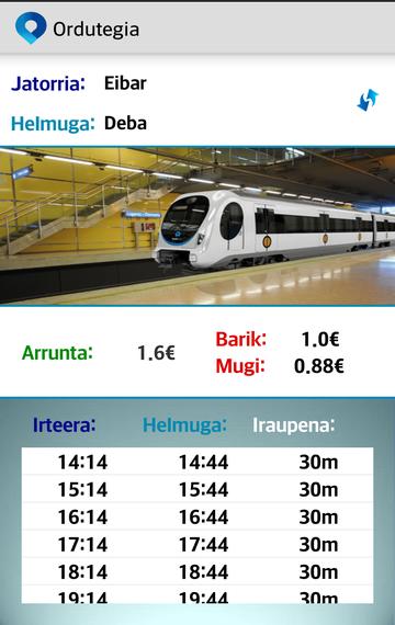 """""""EuskoTrena"""" aplikazioa, tren-ordutegiak sakelekoan"""