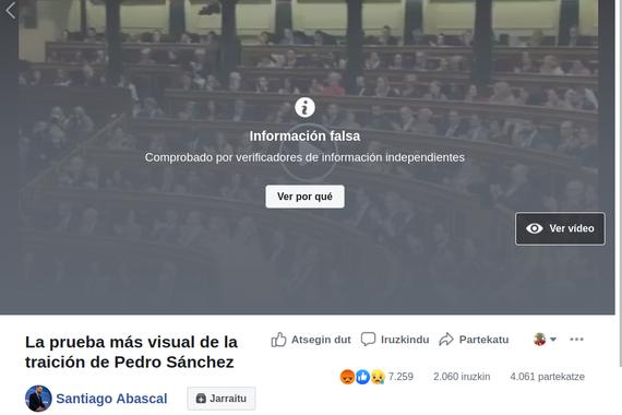 Bideo batzuen faltsutasuna markatzen hasi da Facebook Espainian