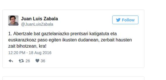 Euskararen egoeraz hausnarketa 15 txiotan, Juan Luis Zabalak