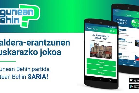 """""""Egunean behin"""", tribial estiloko jokoa argitaratu dugu Android eta iPhonerako"""