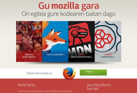 Mozilla proiektuaren webgunea, orain euskaraz ere bai