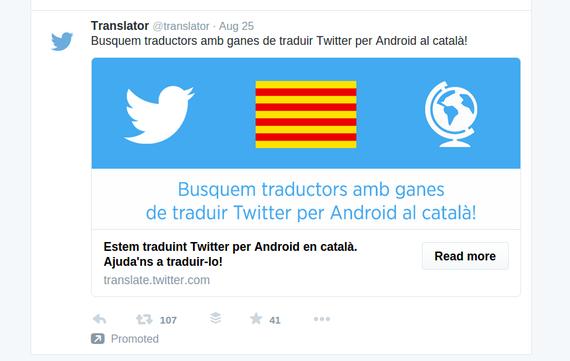 Twitter Android bertsioa, katalanez prest laster