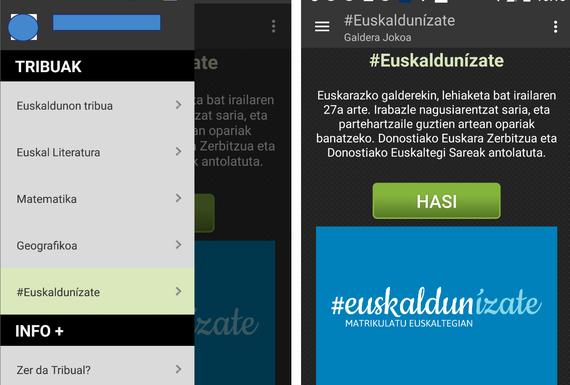 #Euskaldunízate, lehiaketa bat sariekin Tribual joko-aplikazioaren barruan