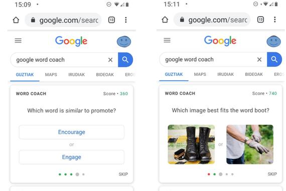"""Google Word Coach, ingelesa hobetzeko """"Egunean Behin"""" moduko bat"""