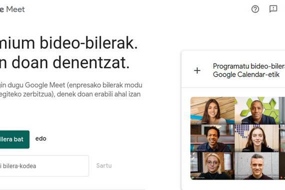 Google Meet, dohainik eta euskaraz telekonferentziak egiteko