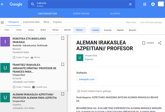 Enplegu bilaketako zerbitzua jarri du martxan Googlek (partzialki euskaraz)