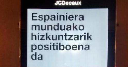 Española, munduko hizkuntzarik positiboena (Bilboko metroaren arabera)