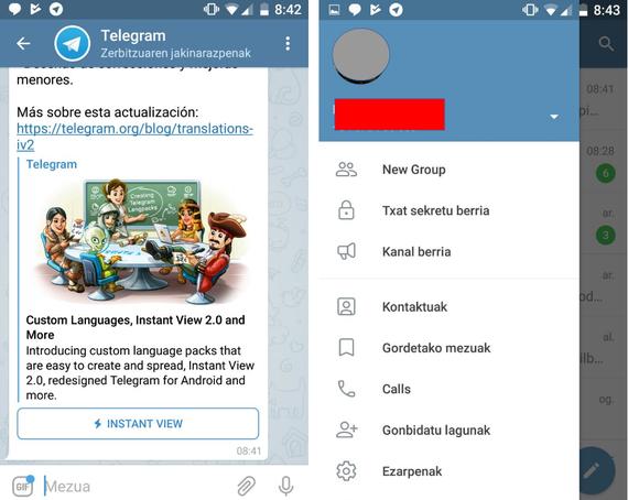 Telegram euskaraz, errazago orain