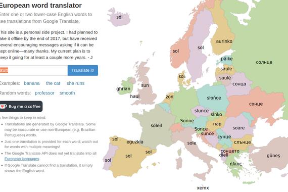 Europako etimologia mapa sinpleak lortzeko