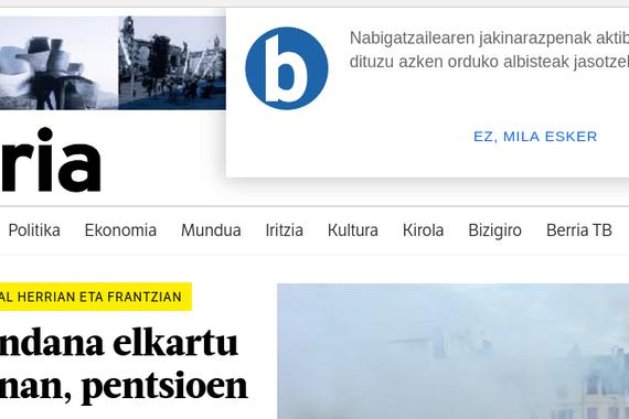 Berria egunkaria nabigatzailearen bidezko jakinarazpenak bidaltzen hasi da