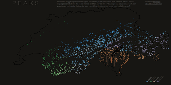 Suitzako mendi guztiak aurkezpen grafiko interaktibo batean