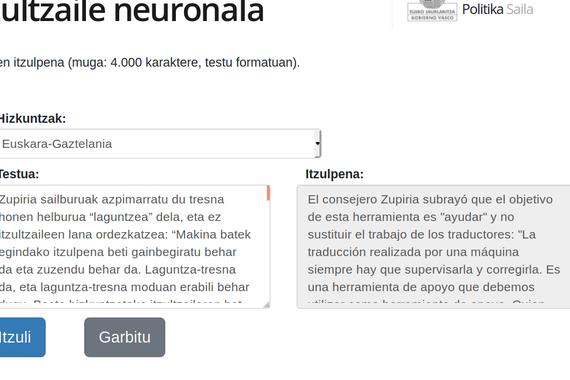 Jaurlaritzaren itzultzaile automatiko neuronala, tresna txukun bat