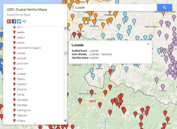 Euskaltzaindiak araututako 669 herriren izenak biltzen dituen mapa digitala