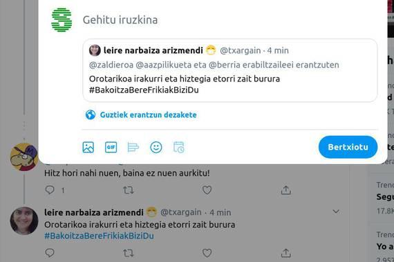 Bertxio iruzkinduen aldeko jokaldi tenporala egin du Twitterrek
