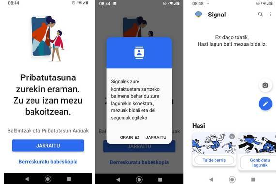Signal mezularitza aplikazioa guztiz euskaratua