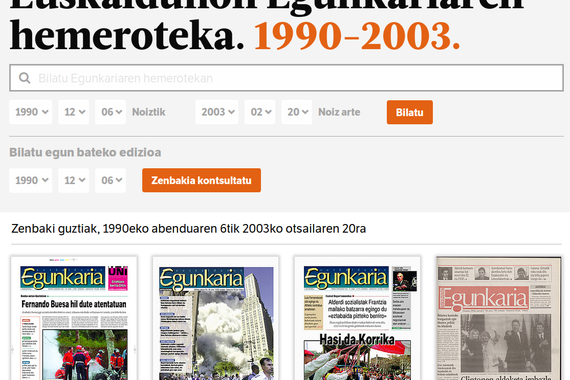 Euskaldunon Egunkariaren hemeroteka osoa sarean (1990-2003)