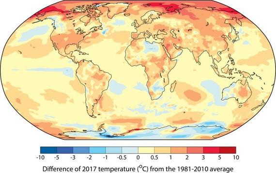 Gure planetak jarraitzen du berotzen: 2017 izan da neurtu den 2. urterik beroena, El Niñorik gabeko beroena #AldaketaKlimatikoa