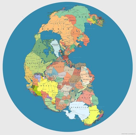 Pangearen mapa politikoa, mundu osoa bat izan zenekoa