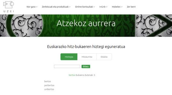 Euskarazko hitz-bukaeren hiztegia sareratu du UZEIk