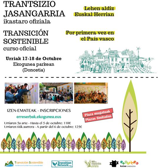"""Lehen aldiz Euskal Herrian """"Trantsizio Jasangarria"""" ikastaro ofiziala"""